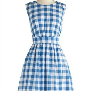 Emily and Gin Blue Gingham A Line Dress XS